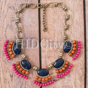 Fan Fringe Necklace Navy Aqua State..