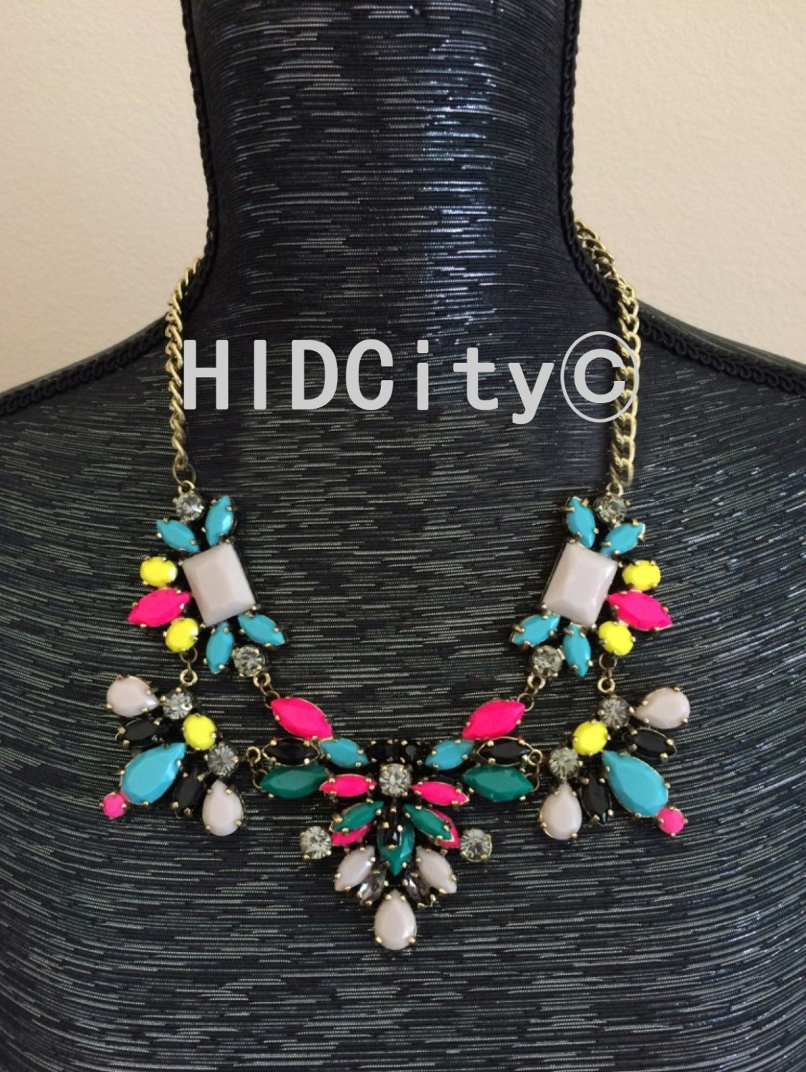 Technicolor floral neon statement necklace bid necklace