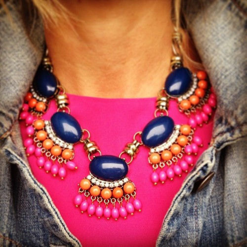 Fan Fringe Necklace Navy Aqua Statement Bib Cabochon Bubble Bead bubble necklace statement necklace