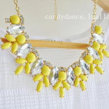 Lemon Yellow Jewel Crystal Statement Necklace