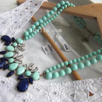 Mint and Blue Crytsal and Beads 2 Layer Statement Necklace