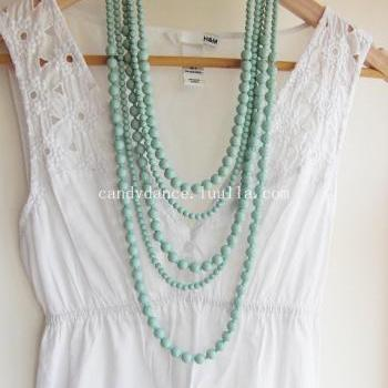 Mutilayers Mint Bead Bohemian Necklace for Summer on Beach