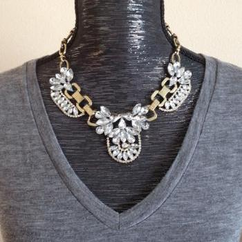 Crystal Cluster J style statement bib crew necklace wedding party necklace