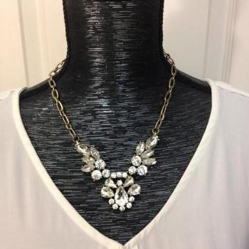 Crystal feather cluster J style statement crew necklace,charm necklace,bridesmaid necklace wendding necklace