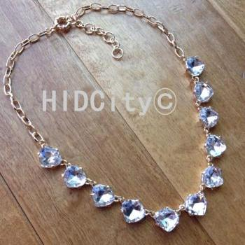 Crystal cluster triangle heart statement necklace Bib Necklace, Statement Necklace,bridesmaid neckalce,wedding party necklace,