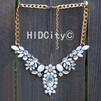 Winged Teardrop Necklace - Bib Style Beaded Statement crystal necklace